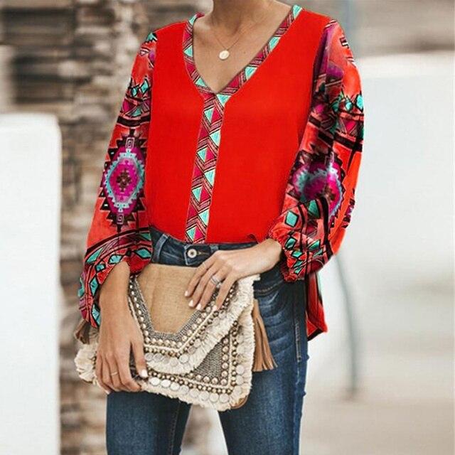 Women Printed Tops V Collar Long Sleeve Shirt Blouse Loose Casual Tops  JL 4