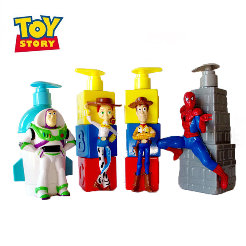 New 20cm Disney Toy Story 4 Woody Buzz Lightyear Jessie Spider-Man Children's Bath Lotion Container Pressure Empty Bottle 2B06