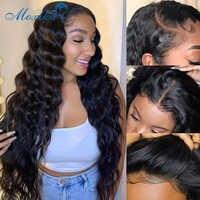 Suelta la onda profunda peluca Peluca de cabello humano para las mujeres de 30 pulgadas peluca con malla Frontal pelucas de cabello brasileño Frontal Remy 150 4x4 de cierre de encaje peluca