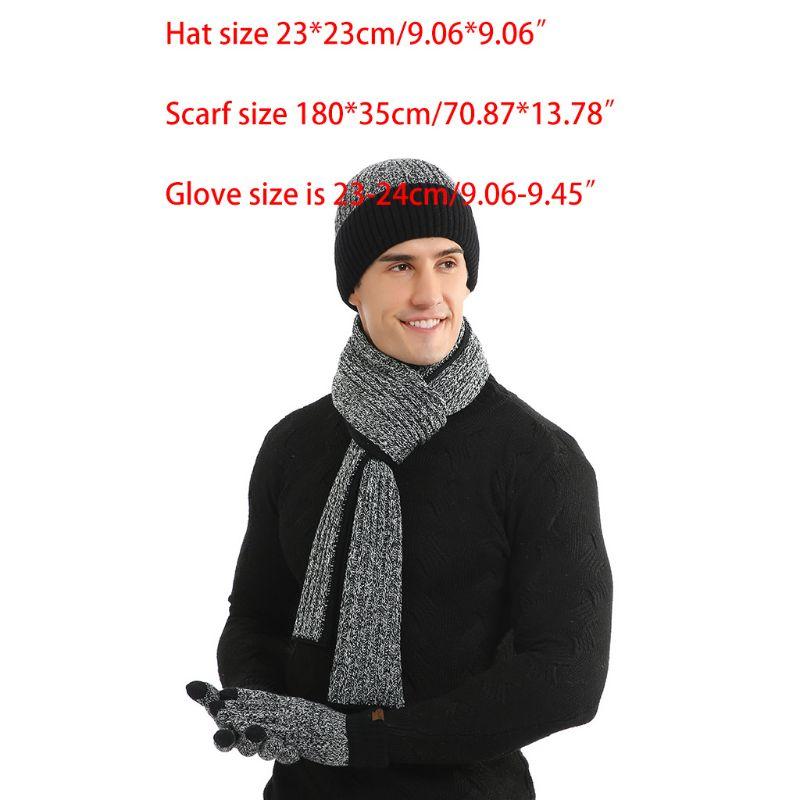 3 Pcs/set Men Women Autumn Winter Double-sided Color Matching Scarf Hat Glove 2XPC