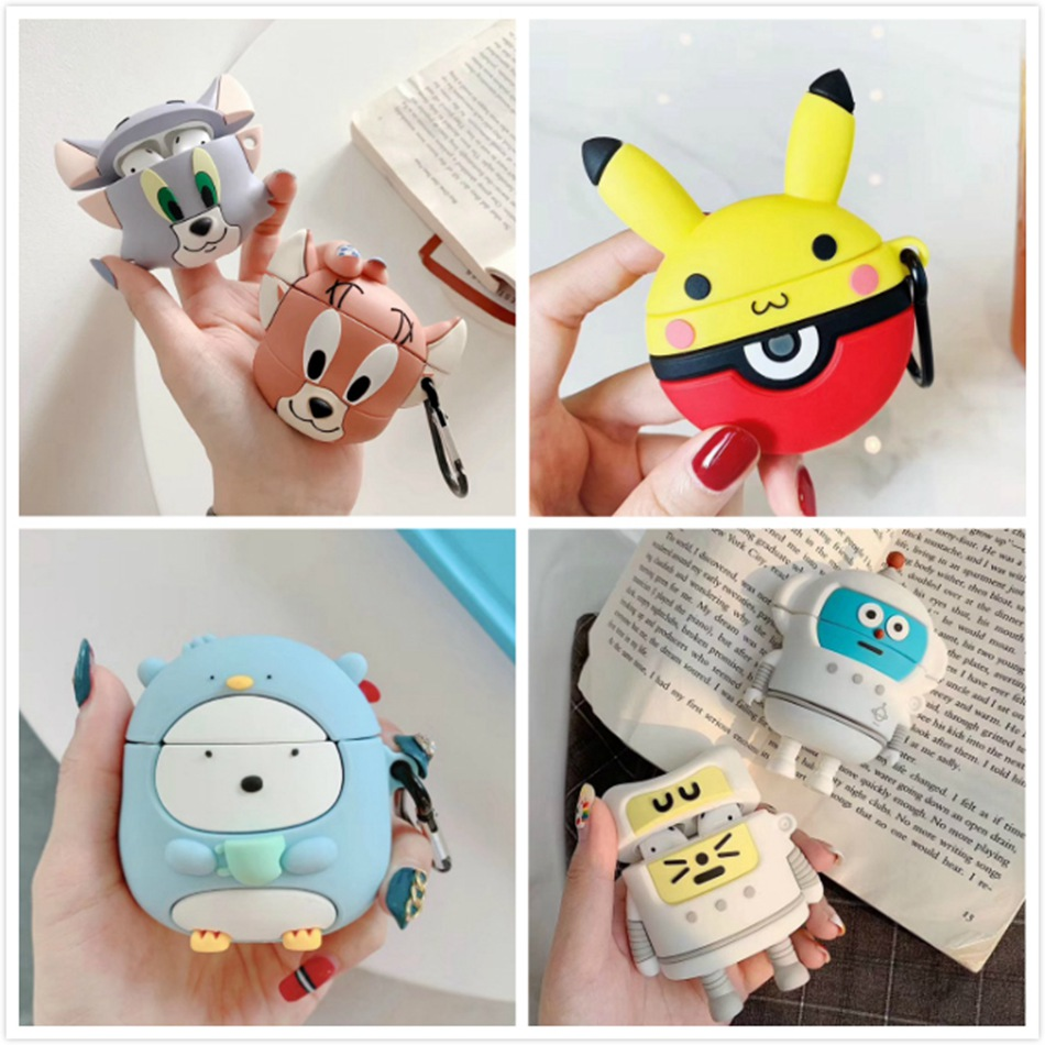 3D Cute Cartoon Earphone Case For Airpods 2 Case Silicone Cat Mouse Cover For Apple Air Pods Earpods Case Accessories Strap Bag