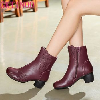 GKTINOO Vintage Casual Ankle Boots Women Shoes Genuine Leather Retro High Heels Ladies Shoes Botas Mujer Boots Female Booties kulada boots women double zippers ankle boots women suede leather boots women high heels thick soles basic botas mujer