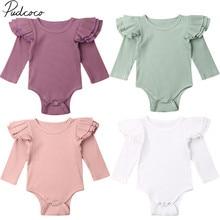 Коллекция года, весенне-осенняя одежда для малышей боди с длинными рукавами и оборками для новорожденных девочек и мальчиков однотонные комбинезоны, комплект одежды