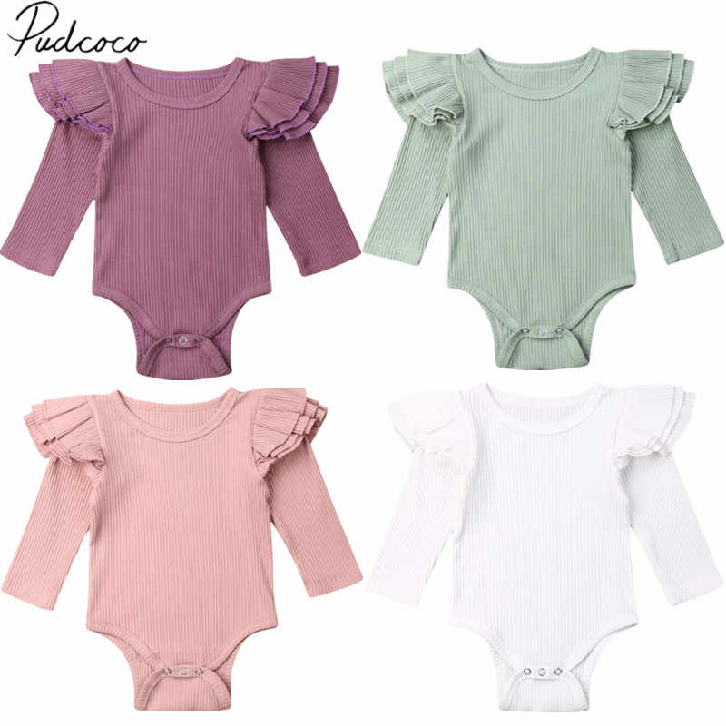 2019 Baby Spring Autumn Clothing Newborn Infant Baby Girls Boys Ruffles Long Sleeve Bodysuit Robbed Solid Jumpsuits Outfit Set