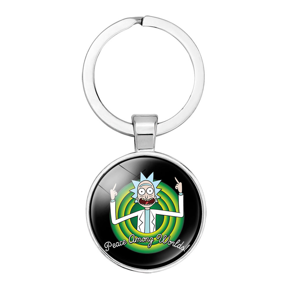 Creative New Rick And Morty Keychains Cute Time Gem Cabochon Car Key Chain Girl Bag Pendant Keyring Lovers Holiday Gifts
