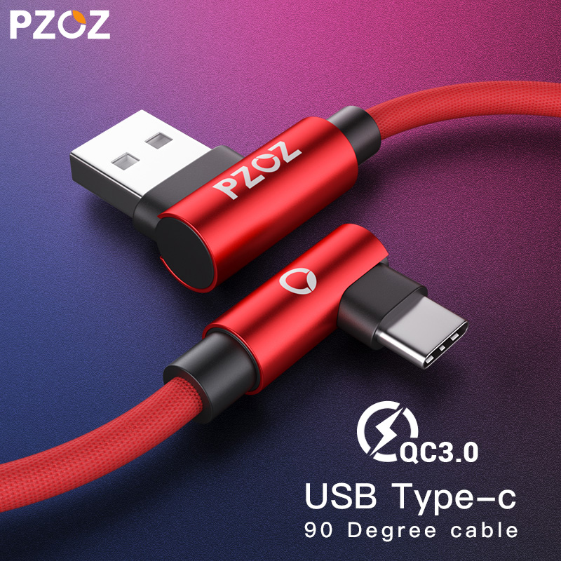 PZOZ USB Type C 90 Degree Fast Charging usb c cable Type-c data Cord Charger usb-c For Samsung S9 s8 xiaomi redmi note 9s 8 pro(China)