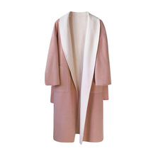 Fall 2019 Super Fire Double-sided Double-color Nightgown Cashmere Overcoat Wool Coat Turn-down Collar Long