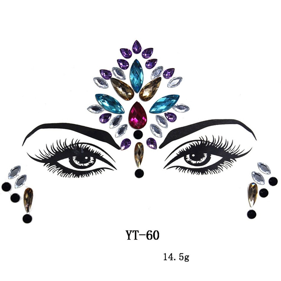 Temporary Tattoo Waterproof Face Sticker Make Up Adhesive Body Art Gems Rhinestone Stickers For Eye Decal Bride Festival Party
