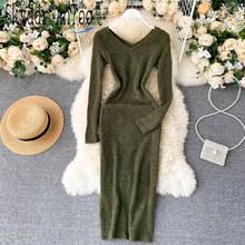 Осень 2020 женское вязаное платье с v образным вырезом и длинным