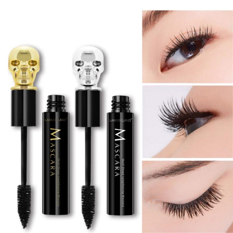 Thick Black Chiffon Skull Mascara Stretch Curl Waterproof Lasting Makeup Thick Mascara Eyelashes Extension Cosmetics
