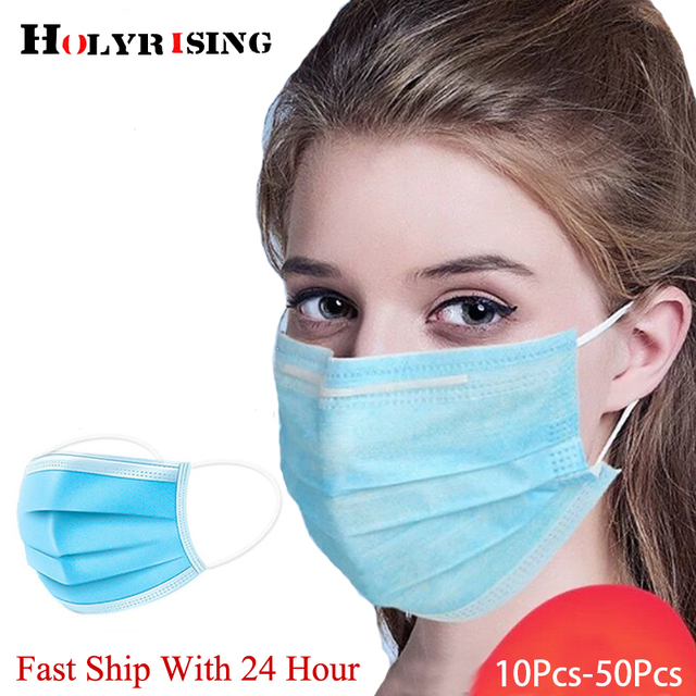 50pcs/bag Disposable mask mouth Non-woven Face Mask Anti Dust Mouth Nose Cover Respirators Unisex 3-Ply
