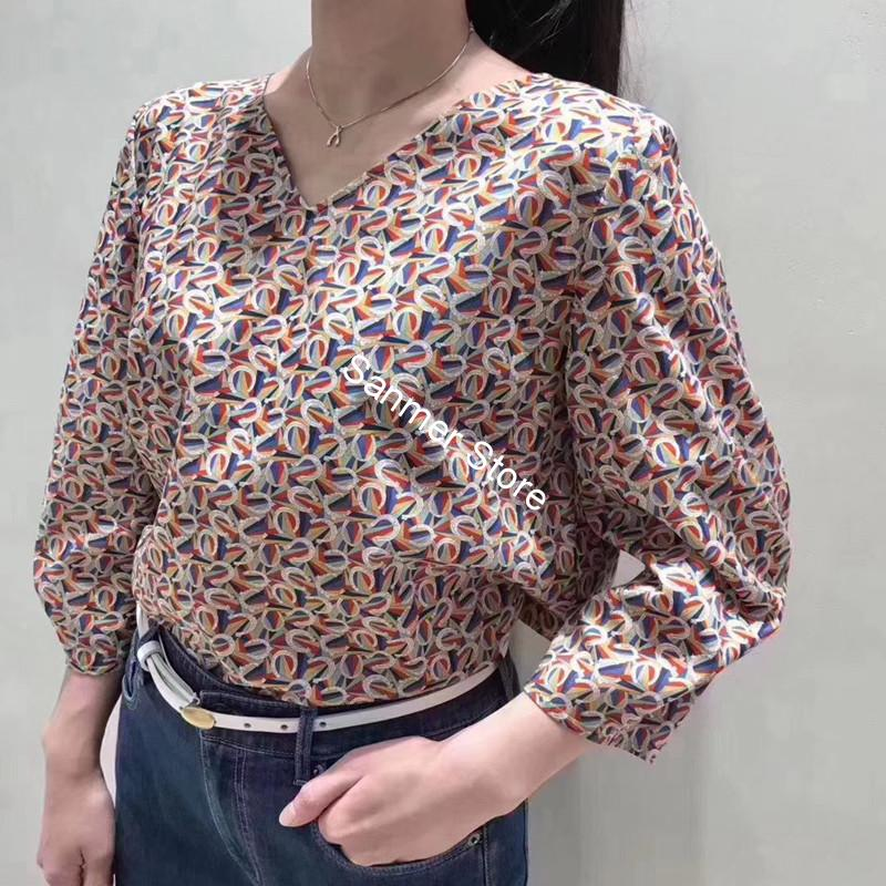 Cotton Women Shirt Classic Printed V-neck Back Bow Tie Lace-up Three Quater Sleeve Blouse and Tops Spring and Summer 2020 New image