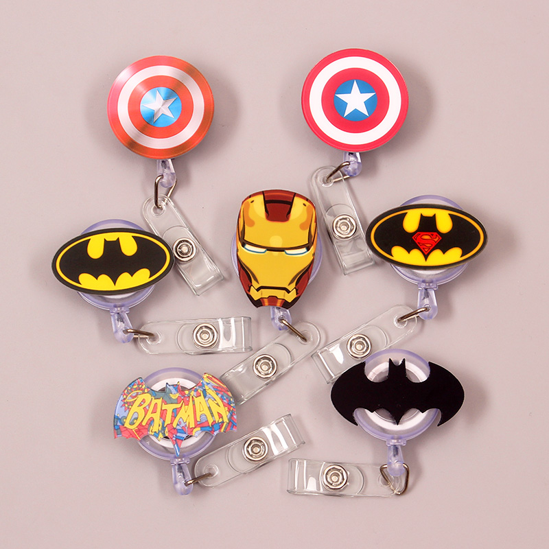 1 Pc Creative Super Heros Acrylic Retractable Badge Reel Nurse Doctor Student Exhibition ID Card Clips Badge Holder Stationery