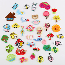 40 kinds mixed Cartoon Iron On patches for children #8217 s clothing embroidery flower down jacket Cute DIY Sequin Applique Badge cheap as picture show HANDMADE Eco-Friendly Embroidered Iron-On 19DK-001