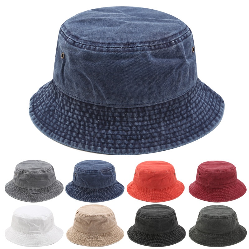 Sparsil Unisex 100%Cotton Bucket Hat Men Breathable Sun Protection Fisherman Cap Foldable Brim Fishing Caps Women Hip Hop Panama