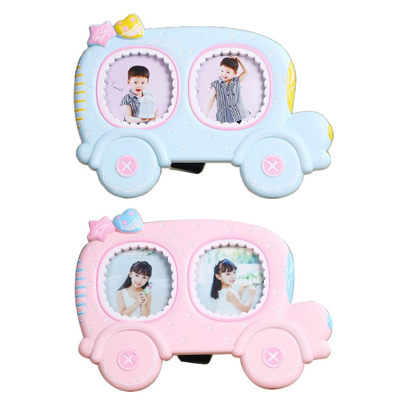 Baby Cartoon Car Shape Photo Frame Infant Year Old Growth Picture Holder Decor Hold 2 Photos Good Gift For Baby