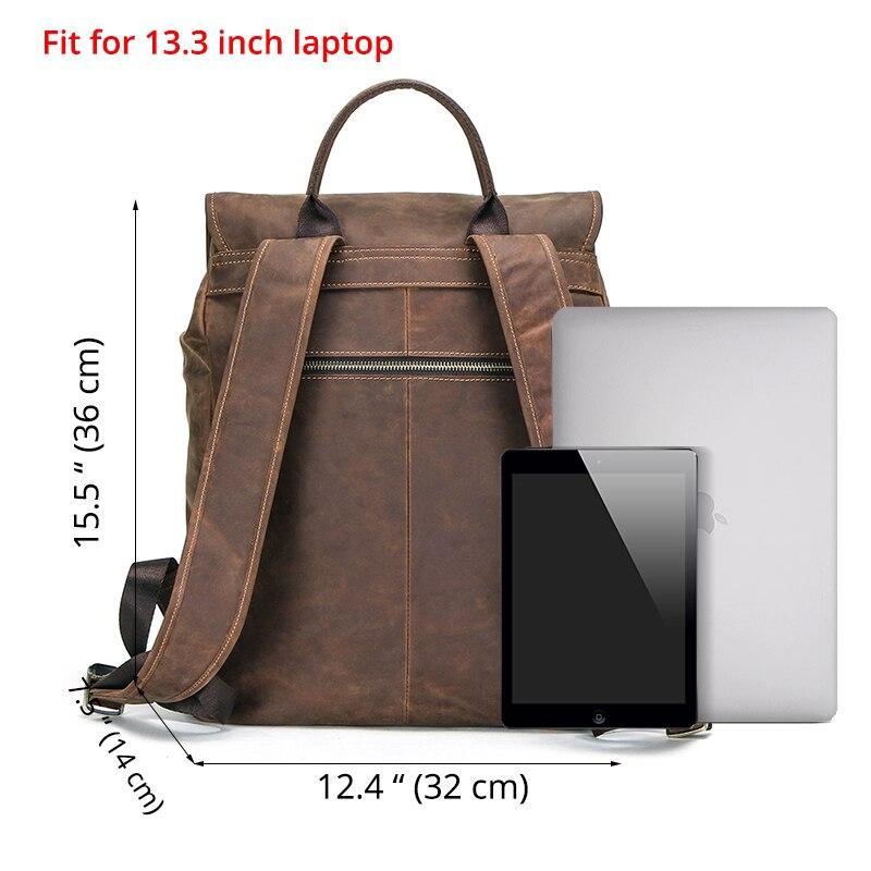 Masculino genuíno crazy horse couro portátil mochila de viagem de negócios vintage saco para 13.3 portátil e notebook - 2