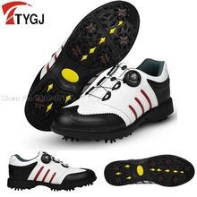 2020 Golf Shoes Men'S Waterproof Antiskid Sneakers Male Rotating  Knob Buckle Sports Shoes Spiked Nail Training Sneakers