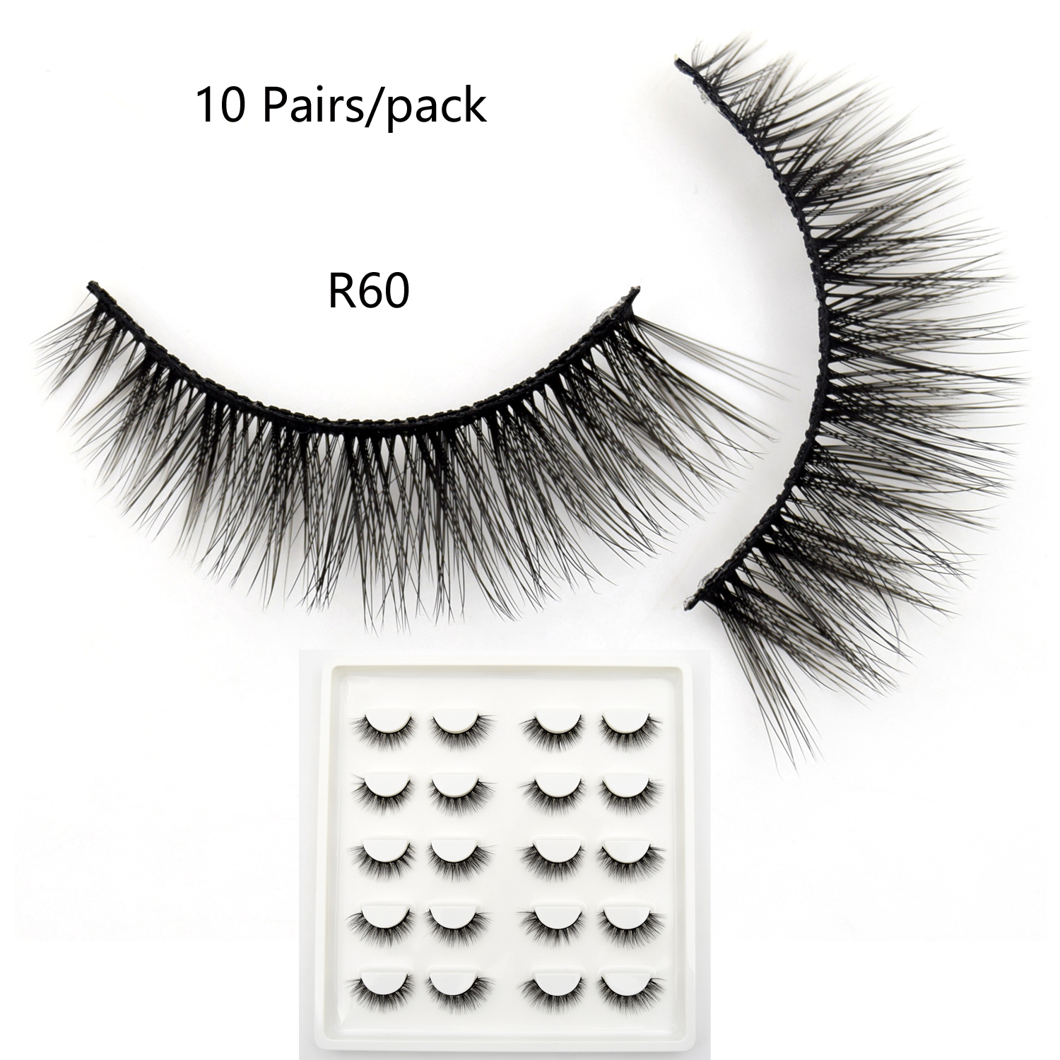 10 Pairs Faux Mink Lashes Bulk Natural Lashes Dramatic Lashes 3D False Eyelashes Handmade Full Strip Lashes R60 Makeup Eyelashes