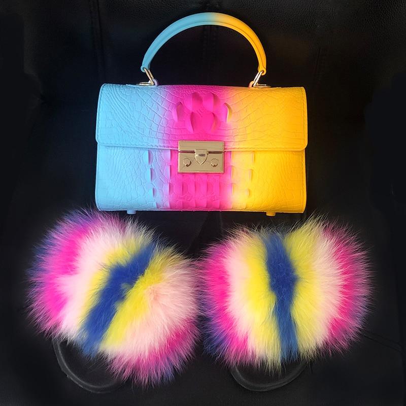 Women Fluffy Fur Slippers Crossbody Bag Colorful Jelly Bag Matching Fashion Fox Fur Slides Warm Shoes Female Amazing Shoes 2020