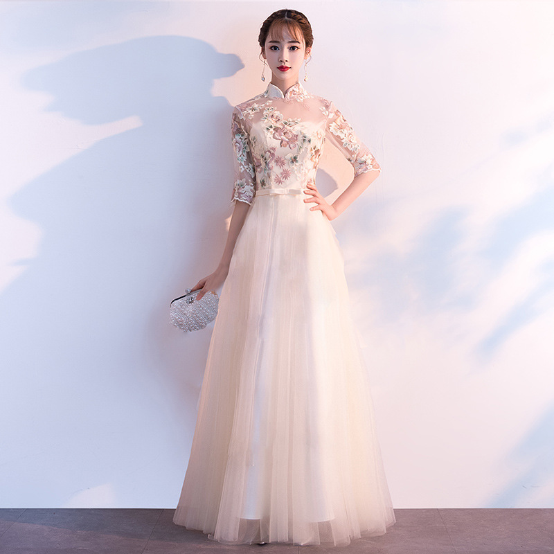 Sexy Perspective Mandarin Collar Female Lace Cheongsam Vintage Embroidery Flower Chinese Bride Wedding Dress Qipao Vestidos