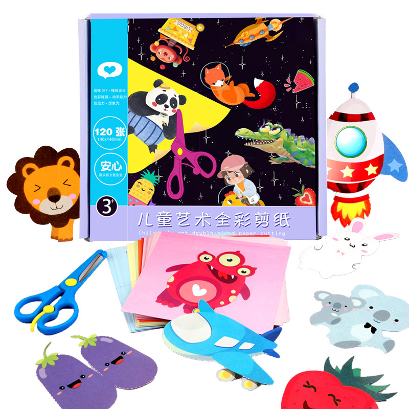 96 Sheets Handmade Paper Cut Book Craft Paper Children DIY Handmade Book Scrapbooking Paper Toys For Kids Learning Toys