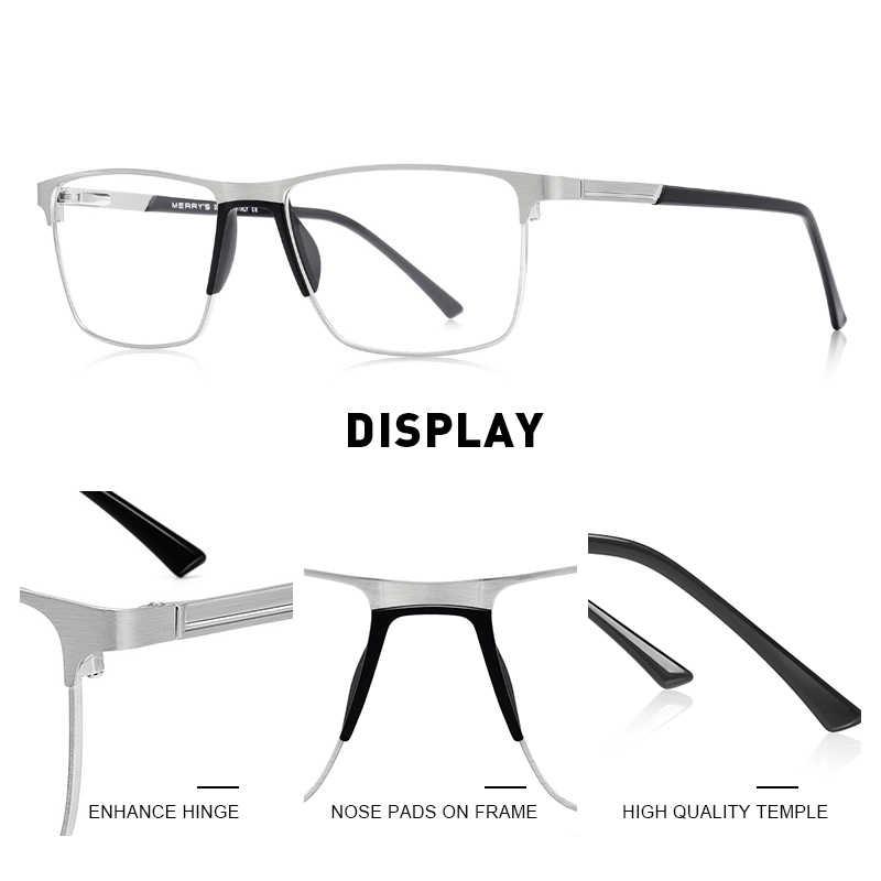Merrys design óculos masculino para miopia, óculos masculino de liga de titânio, quadrado, ultraleve, óculos de grau s2001