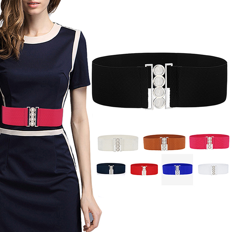 1PC Women Stretch Elastic Wide Waist Belts Female Apparel Accessories Dress Waist Silver Metal Buckle Fabric Strap