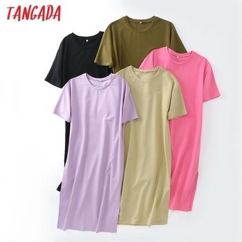 Tangada 2021 Women Elegant 95% Cotton Sweatshirt Dress Oversized Short Sleeve Side Open Ladies Midi Dress 6L60 4
