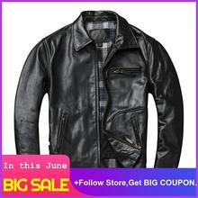 2020 Black Men American Style Motorcycle Leather Jacket Plus Size XXXXL Genuine Horsehide Autumn Slim Fit Bikers' Leather Coat недорого
