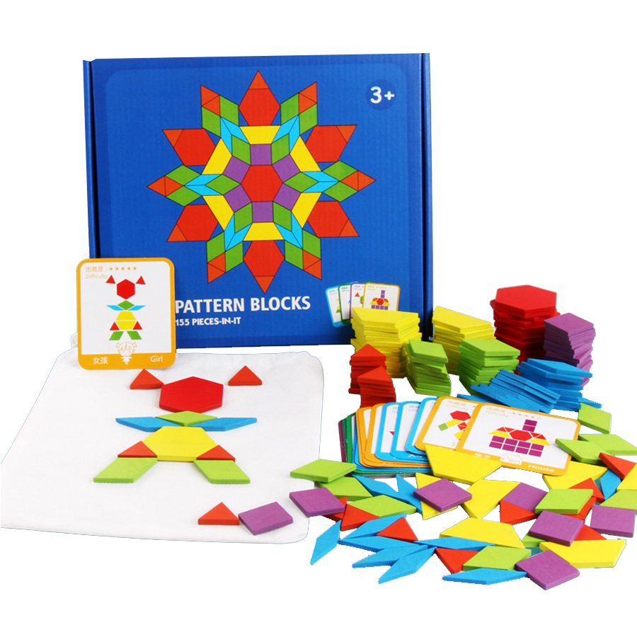 155 Pcs 3D Wooden Puzzle Jigsaw Tangram Geometric Shape Learning Education Montessori Wood Toys For Children New Year Gifts
