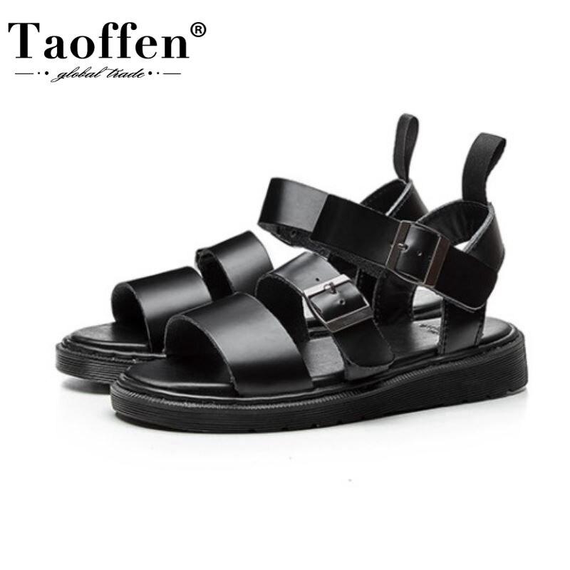 Женские сандалии на толстой плоской подошве Taoffen, летние сандалии на платформе из натуральной кожи с пряжкой, размер 34 40|Боссоножки и сандалии|   | АлиЭкспресс - Летние Сандалии С AliExpress