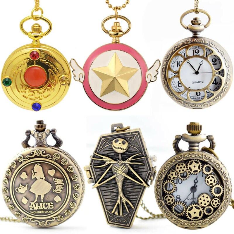 Antique Stainless Steel Pocket Watch Analog Men Women Steampunk Pocket Quartz Watch Pendant Necklace Figure Chain Retro Gift