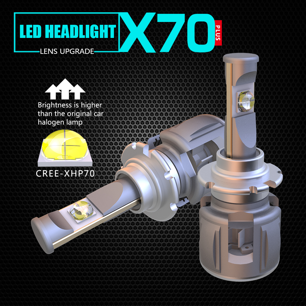 <font><b>XHP70</b></font> X70 H4 <font><b>H7</b></font> 9005 9006 Car <font><b>LED</b></font> Headlight Bulb H11 9012 H8 D1S H1 D4S <font><b>Cree</b></font> Chips 120W 15600LM <font><b>XHP70</b></font> Headlamp Fog Lights 6000K image