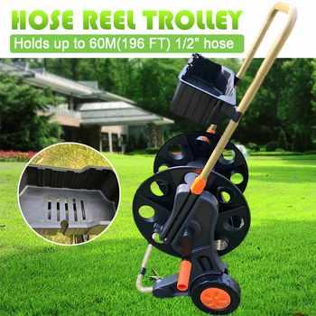 Hand push Garden Hose Reel Cart 60M Garden Water Pipe Hose Reel Handheld Cart Outdoor Planting Hosepipe Organizer+Storage Box