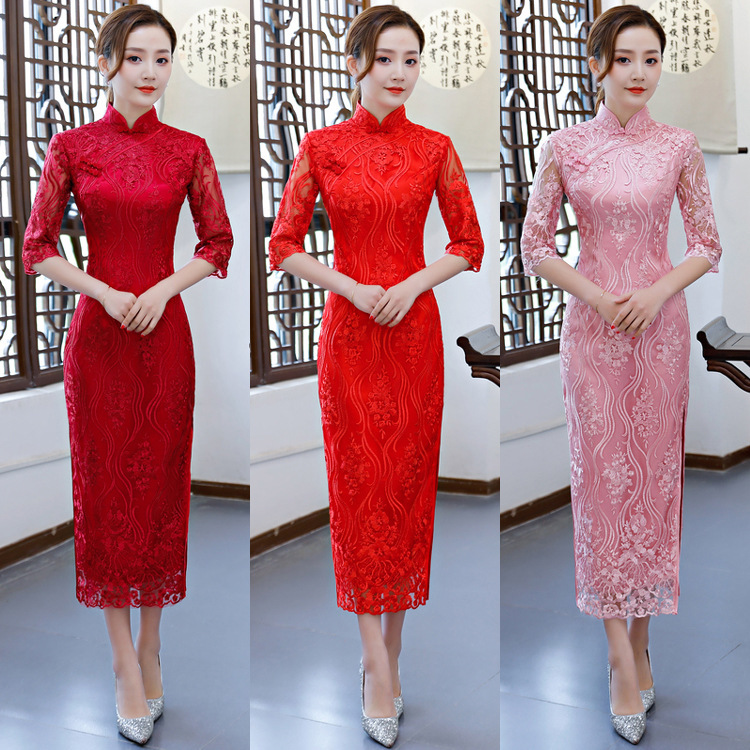 Bridesmaid Hot Sale A-line High Three Quarter Lace Bride's Wedding Toast Cheongsam New Chinese Dress Party In Spring 2020