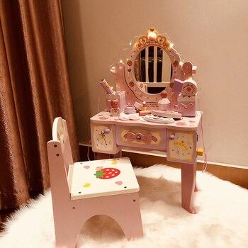 ť�の子 6 1 Â�フト小さなプリンセスシミュレーションドレッサー化粧テーブル子供の家の非毒性木製おもちゃ