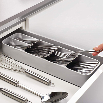 Kitchen Drawer Organizer Cutlery Storage Tray Store with Partitions for Spoons and Forks
