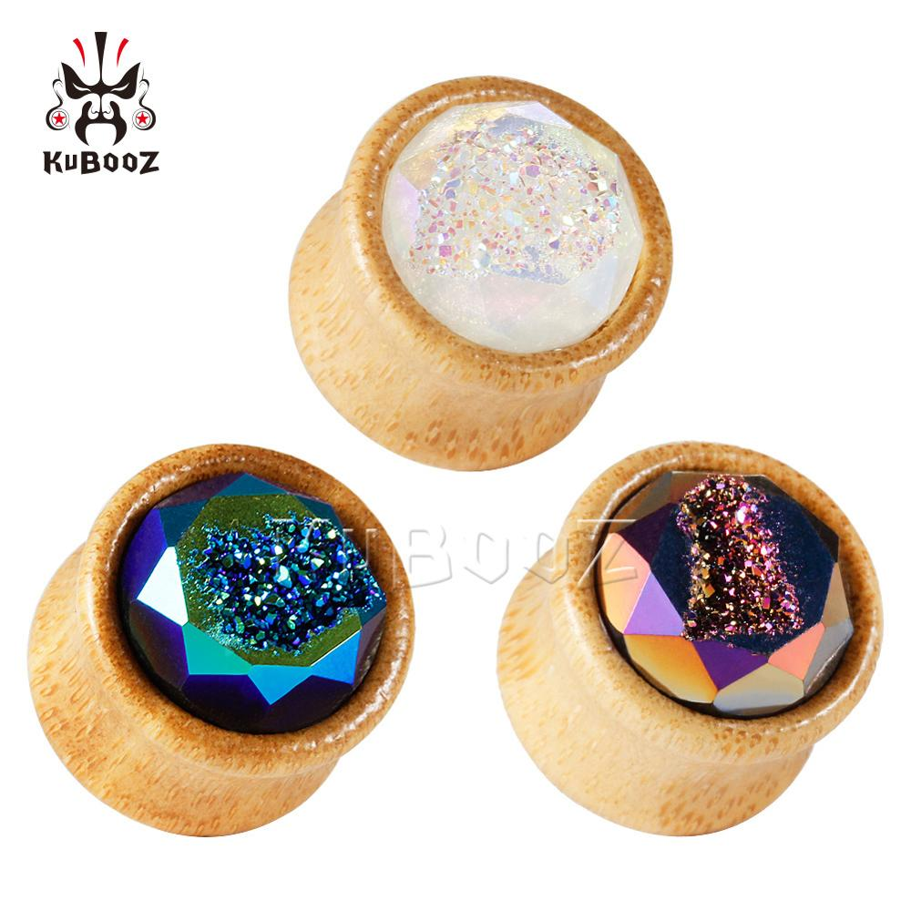 kubooz New Bamboo Ear Expansion Piercing Earrings Strechers Body Jewlery Fashion Gift For Unisex Person 8-25mm