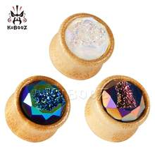 kubooz New Bamboo Ear Expansion Piercing Earrings Strechers Body Jewlery Fashion Gift For Unisex Person 8-25mm(China)
