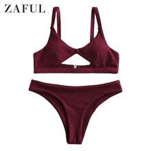 цена на ZAFUL Women Ribbed Cut Out Padded Bikini Swimwear Scoop Neck Plain Bikini Sets Solid Color Two Pieces Swimwear 2020 Ladies