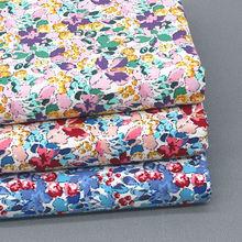 145x50cm pequeno fresco floral algodão liso impresso popelina costura tecido, artesanal diy crianças vestido pano de roupas
