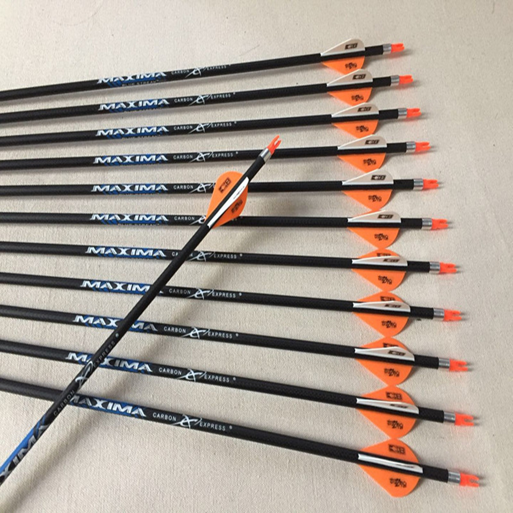 6/12pcs Pure Carbon Arrows Spine340 400 500 3K Weave ID6.2mm Arrow Shafts2
