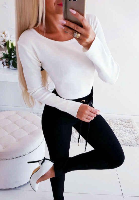 Yeni Moda Kadınlar Casual T-shirt Backless Dantel Çapraz Uzun Kollu sıfır yaka bluzlar Sıkı Gömlek