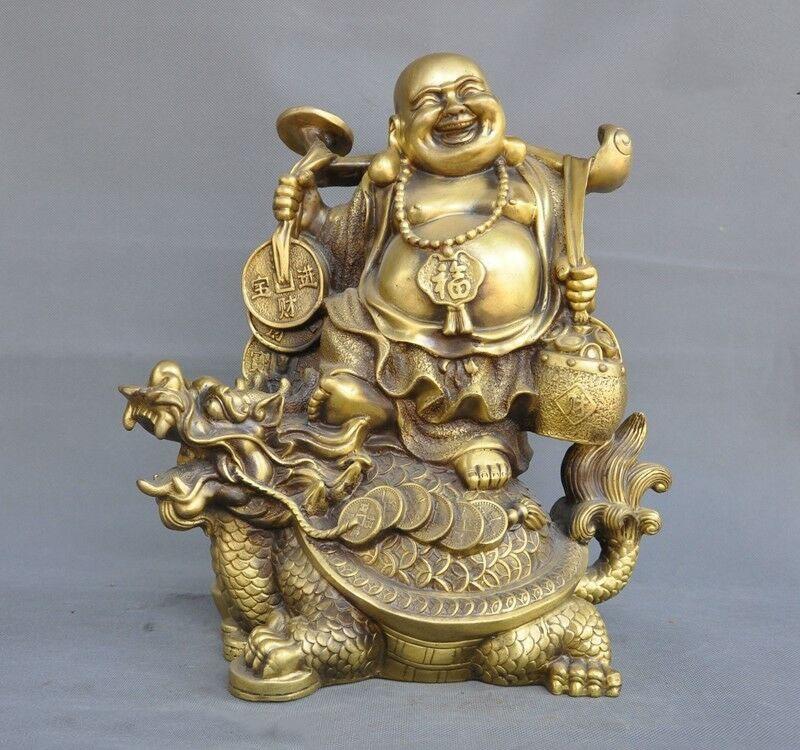 Wedding Decoration Chinese Buddhism Temple Bronze Wealth Ruyi Dragon Turtle Maitreya Buddha Statue