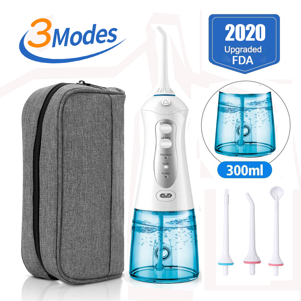 3 Modes Portable Oral Irrigator Cordless Water Dental Flosser USB Rechargeable 4 Nozzles Water Jet Floss Tooth Pick 300ml