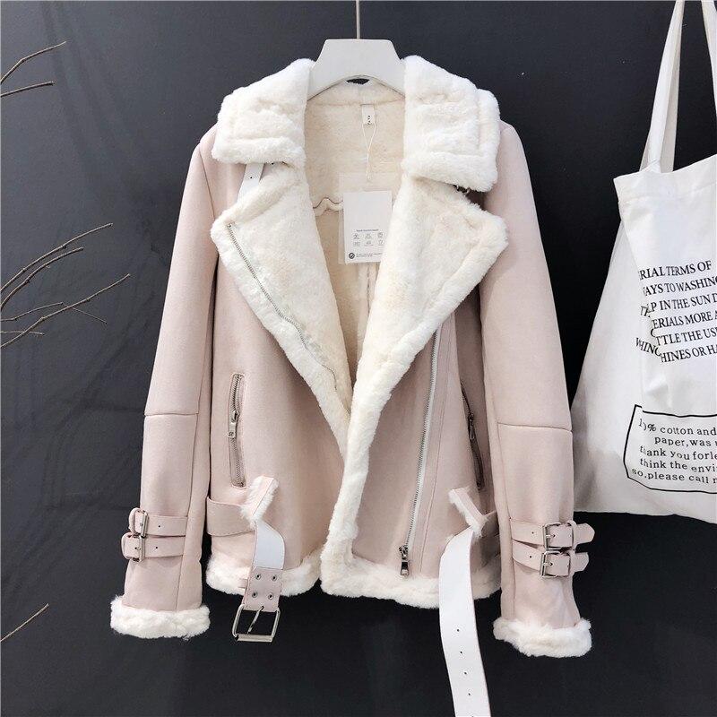 Женская зимняя замшевая куртка 2019, модное плотное теплое мотоциклетное кожаное пальто для женщин, Короткая свободная куртка, пальто, уличная одежда
