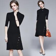 Zuoman женские осень зима элегантный свитер платье festa высокого