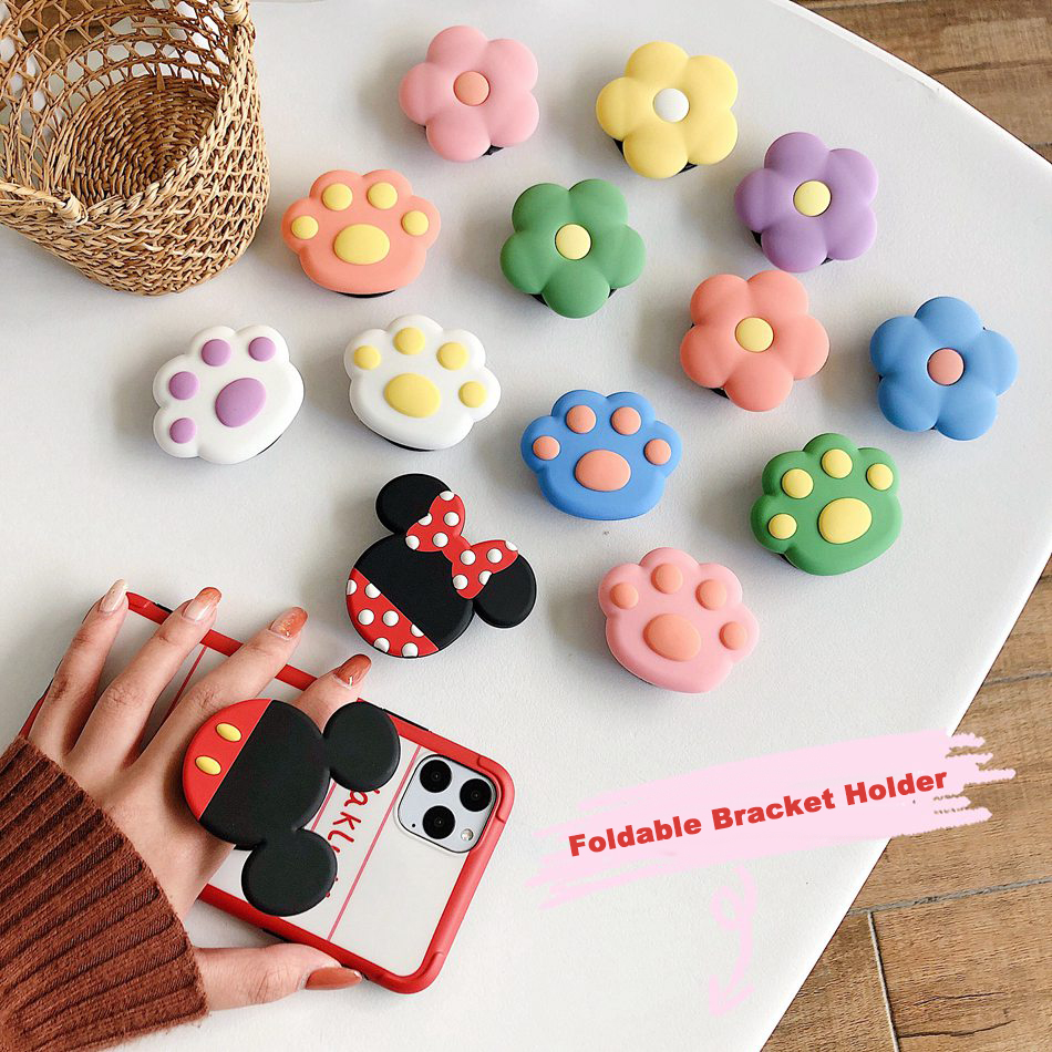 Universal Foldable Bracket Holder For IPhone Samsung Huawei Xiaomi OPPO VIVO Cute Cat Claw Flower Folding Ring Holder