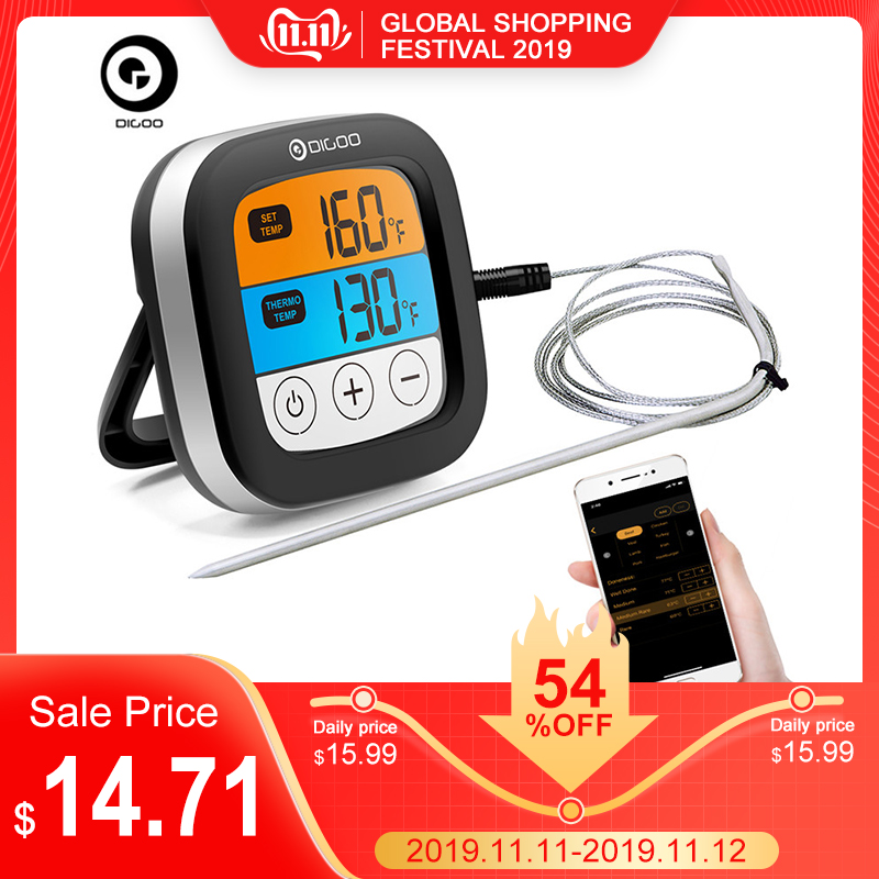 Digoo DG-FT2103 LED Touch Screen Digital Bluetooth Cooking Meat Thermometer With Temperature Probe For Meat Barbecue Kitchen